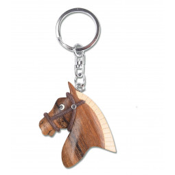 Handmade wooden key ring horse head