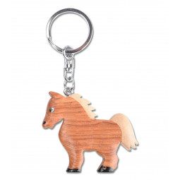 Handmade wooden key ring horse